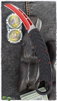 OTF D/A Auto Karambit Red Hardware & Blade Textured Arrow Handle