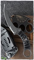 Bastinelli Creations Customized Mako Fixed Serrated Blade N690Co All Black PVD Stonewashed, Custom Black On Black Tsukamaki Handle Wrap With Distressed Menuki , Kydex Sheath