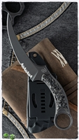 Bastinelli Creations Mako Fixed Blade, Bronze Two Saints Scales, Serrated Black Stonewashed N690