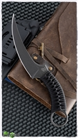 Bastinelli Creations Customized Mako Fixed Blade N690Co Black PVD Stonewashed, Cobra Knot Wrapped Handle, Kydex Sheath