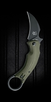 "Bastinelli Creations/Fox Knives Black Bird Karambit, OD Green G-10, 2.5"" Black N690"