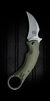 "Bastinelli Creations/Fox Knives Black Bird Karambit, OD Green G-10, 2.5"" Stonewash N690"