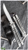 BaliBalistic Channel Cut Titanium Latched Bowie Clip Blade Balisong