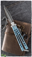 BaliBalistic Channel Cut Anodized Blue Titanium Latched Double Edged Damascus Blade Balisong