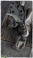 Bastinelli PiKa Picoeur Karambit Fixed Blade Knife Black On Black Wrapped Large Menuki Special