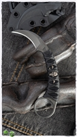 Bastinelli PiKa Picoeur Karambit Fixed Blade Knife Black On Black Wrapped Small Menuki Special