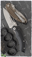 "Bastinelli BBR2 Folder Frame Lock Knife, Black G10, 3.125"" Satin D2 Steel Blade"