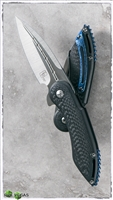Todd Begg Steelcraft Mini Glimpse Black Titanium Handle CF Inlays w/ Blue Jewel Ice Pocket Clip