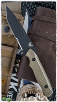 Benchmade Nimravus Serrated Tanto Fixed Blade, Black 154-CM, Desert Sand Scales