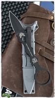Benchmade Mini SOCP Double Edged Fixed Blade, Black 440C Knife, Gray Sheath