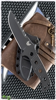 Benchmade 375 Adamas Fixed Blade, Black D2, Black Sheath