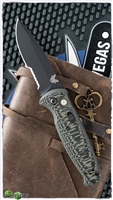 Benchmade CLA Auto 4300SBK-1  Serrated Black Blade Blk/Grn G10 Scales