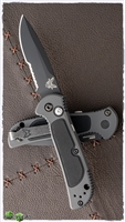 Benchmade 9750BK Mini Coalition Serrated Black Blade & Gray w/Black Inlays