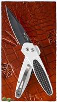 Protech Newport Auto 3412 Black Blade Silver Handle Carbon Fiber Inlay