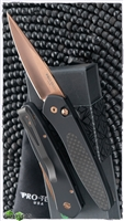 Protech Newport Auto 3416-RG Rose Gold Blade Black Handle Carbon Fiber Inlay