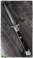 "BURN Knives 13"" Swinguard Lock Back Italian Chad Nichols SS Damascus Bayonet w/ Juma Black Snake Skin Scales File Work"