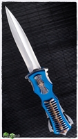 BURN Knives Razor D/A OTF Blue Scythe Razor Flamed Spinal Cord Mirror Hollow Grind