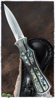 BURN Knives Palm Viper OTF 416 SS Abalone Inlays High Polish Hollow Ground Dagger