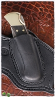 Custom Black Leather Buck Knife Sheath