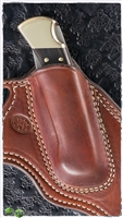 Custom Mahogany Leather Crossdraw Buck Knife Sheath