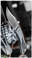 Isham Bladeworks Titanium Blackstar Slip Joint Knife Marbled Carbon Fiber Inlays