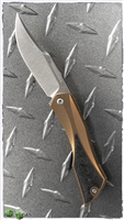 Isham Bladeworks Bronze Anodized Titanium Blackstar V2 Slip Joint Knife Marbled Carbon Fiber Inlays