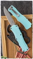 "Hogue Knives Exploit OTF Automatic, 3.5"" Clip Point CPM-S30V - Tumbled Finish, Matte Aquamarine Handle"