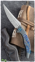 Ron Best Onyx Automatic, Zirc Scales Moku-Ti & Pearl Inlays with Damasteel Blade