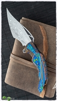 Ron Best Fire-Hawk Mokuti Scales, Anodized Titanium Inlays with Damasteel Blade