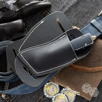 Custom Right Hand Left Hip Crossdraw Black Leather Knife Sheath