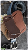 Custom Left Hand Right Hip Crossdraw Brown Leather Black Stitching Knife Sheath
