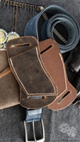 Custom Left Hand Right Hip Crossdraw Brown Leather White Stitching Knife Sheath