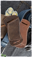 Custom Right Hand Left Hip Crossdraw Brown Leather White Stitching Knife Sheath