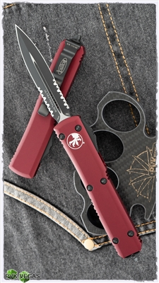 Microtech Ultratech D/E 122-2RD Black Serrated Blade Red Handle
