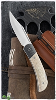 CIVIVI Knives C914C Rustic Gent Folding Knife D2 Satin Clip Point Blade, Tan Micarta Handles with Carbon Fiber Bolsters