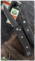 Protech Brend #2 Small Size 1205 Black Blade Black Handle CF Inlay