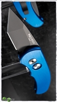 Protech J4 Runt Automatic Knife Tanto Black Blade Blue Handle