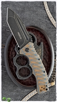 "Defcon Blade Works Proelia Tanto Linerlock, Brown/Blue G-10, 3.75"" Darkwashed D2"