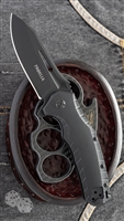"Defcon Blade Works Proelia Drop Point Linerlock, Black G-10, 3.75"" Black D2"