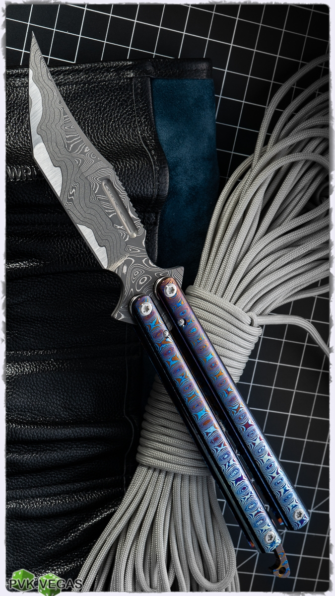 ExtremAddiction Balisong Damascus Clip/Bowie Blade w/ Moku-Ti Handles