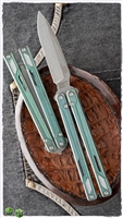 EOS Balisong Darkened Tumbled CTS-XHP Blade and Antique Green Titanium Handles