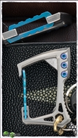 EOS Titanium Carabiner Satin Finish with Blue Hardware