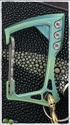EOS Titanium Carabiner Green Anodize with Stonewash Hardware