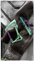 EOS Titanium Carabiner Green Finish with Purple Hardware