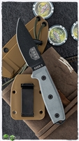ESEE Knives ESEE-3 Plain Edge, Rounded Pommel, Coyote Brown Sheath, MOLLE Back and Clip Plate