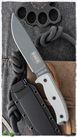 "ESEE Knives ESEE-6S-TG Fixed Blade Knife, Micarta scales, 6.5"" Gray Partially Serrated 1095, Kydex Sheath"