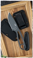ESEE Knives Izula Tactical Gray Finished 1095 Neck Knife, Black G-10 Scales, Kydex Sheath