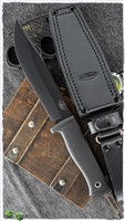 "Fallkniven A1 Swedish Survival Knife 6.3"" Black VG10 Blade, Kraton Handles, Leather Sheath"
