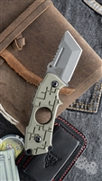 TOPS Knives 208 Clipper Friction Folder/Cigar Cutter, OD Green, Stonewashed CPM-S35VN