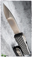 Guardian Tactical RECON-035 Hand Ground S/E OTF Bronzed Satin Blade Bronze Hardware Carbon Fiber Inlay